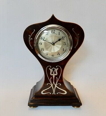 Stunning French Art Nouveau Silver inlay Balloon Mantel Clock  Working 3035