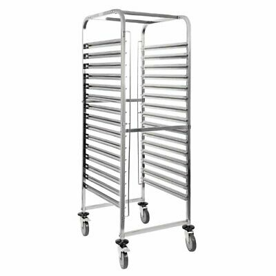 Vogue s/s Gastronorm 2/1 Racking Trolley 15 Levels 1720 x 770 x 585mm  - GG499