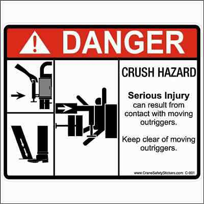 Crane Safety Sticker Multiple Crush Hazard Moving Outriggers