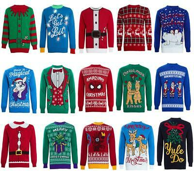 Christmas Jumper Unisex Men Ladies Women Xmas Knit Sweater Funny Cheesy Novelty