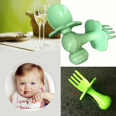 NEW Baby Self Feeding Training Spoon Fork Cutlery Set Safe and Easy to Use P4N6C