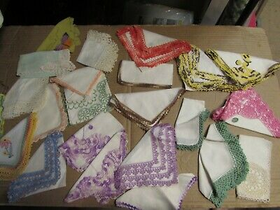 Vintage Lot 75 Hankies Floral Prints Linen Cotton ETC