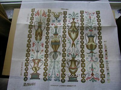Ehrman Needlepoint Kit Unused Greek Urns Chair Seat Background Red