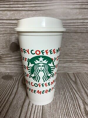 Starbucks Reusable Hot Cold White Cups (2) 16oz Merry Coffee Christmas