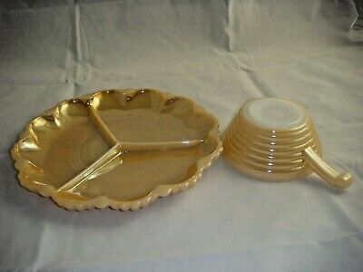 Vintage Fire King Peach Luster Bowl With Handle & 3 Part Relish Dish 10""