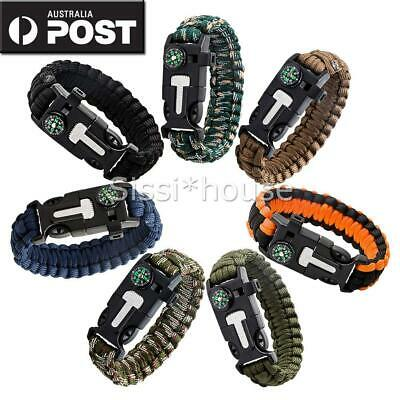 9in1 Flint Fire Starter Survival Paracord Bracelet Whistle Compass Gear Tool OZ