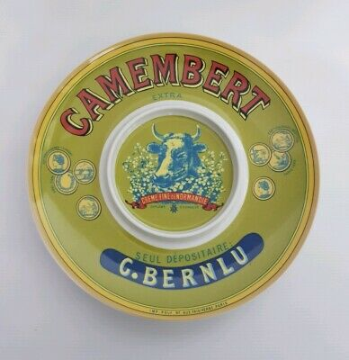 Rare French Camembert Creme Fine Cheese & Cracker Ceramic Severing Plate
