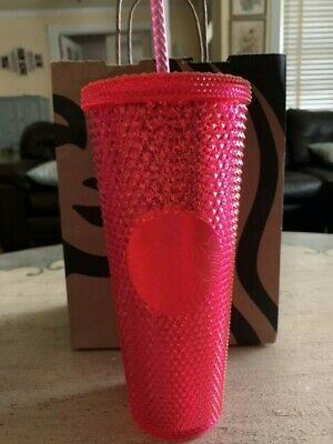 NEW STARBUCKS 2019 Neon Pink Studded Cold Cup Tumbler WINTER HOLIDAY 24 oz RARE