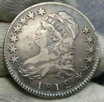 1812/1 Capped Bust Half Dollar 50 Cents - Nice Coin, Free Shipping (8663)