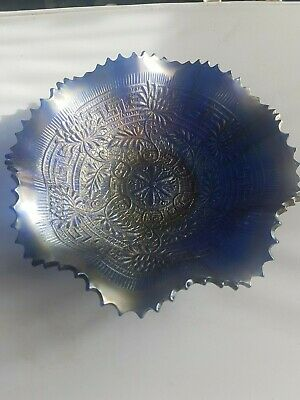 "Rare Antique Carnival Glass Fruit Bowl By Northwood ""Embroidered Mums"" Pattern"
