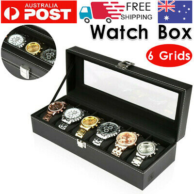 Watch Box 6 Grids Carbon Fiber Storage Gift Case Jewelry Display Organizer AU