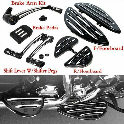 BBUT Edge Cut Driver and Passenger Floorboard Foot Board /&Toe Heel Shift Lever Arm Kit For 2014-2019 Harley Touring Street Glide Road Glide Road King Electra Glide 2016-2019 Harley FL Softail Models