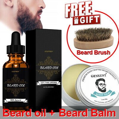 Beard Growth Oil+Beard Balm+(Free) Beard Brush Best Beard Care Kit Gift For Men