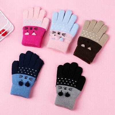 Kids Gloves Knitting Mittens Thick Cartoon Cat 0-3 Years Old Keep Finger Warm