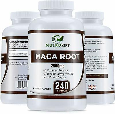 Maca Root Capsules 2500mg, 240 Capsules (8 Month Supply) by Natures Zest