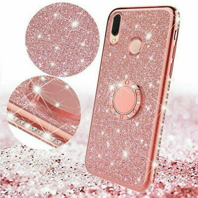 For Xiaomi Redmi Note 8 Pro 7 K20 Finger Ring Stand Bling Glitter Rubber Case