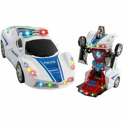 Transforming Robot Police Car Toy with Lights and Sounds Kids Bump and Go Action