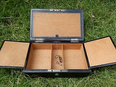 ANTIQUE LARGE VICTORIAN JEWELLERY BOX - wooden & leather LONDON -BRAMAH LOCK