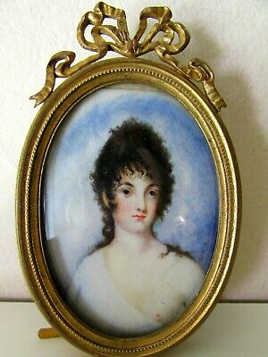 Antique Victorian Lady Portrait Nude Miniature Painting French Gilt Frame