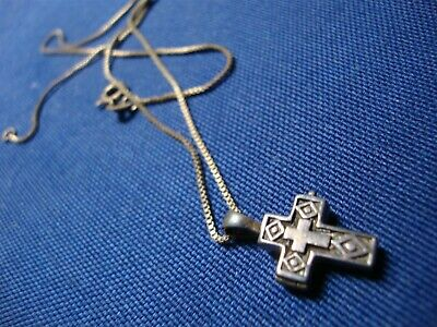 Grandmas Estate 925 Sterling Silver Cross Poison Box Necklace