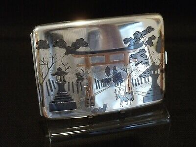 Japanese Late Meiji Sterling Silver Cigarette Case With Niello Decoration C1900