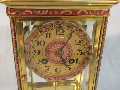 Exquisite Antique French Japy Freres Brass Regulator Clock - Champleve Trim