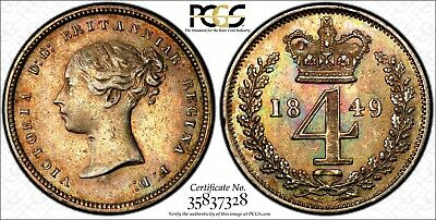 Great Britain Silver Victoria 1849 4 Pence Maundy PCGS PL53 PROOF LIKE KM# 732