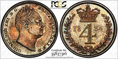 Great Britain William IV Silver 1834 4 Pence Maundy PCGS PL62 PROOF LIKE KM# 711