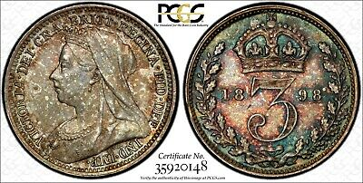 Great Britain Silver 1898 3 Pence PCGS PL64 PROOFLIKE RAINBOW TONED KM# 777