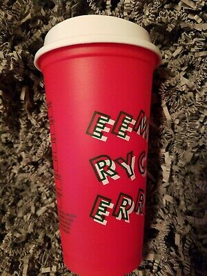 NEW Starbucks 2019 Reusable 16 Oz Grande Red Holiday Travel Cup White Lid