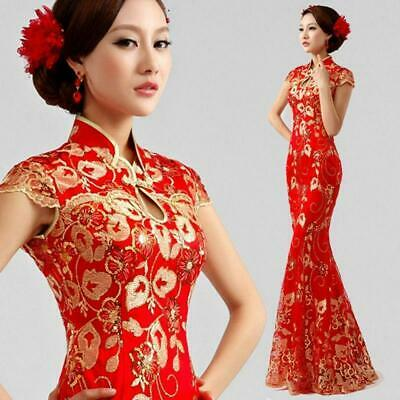 Red Formal Evening Prom Wedding Dress Mermaid Chinese Gown Embroidery C438N