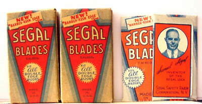Vintage TWO  FULL BOXES & TWO EXTRA BLADES  SEGAL DE  Safety Razor Blades