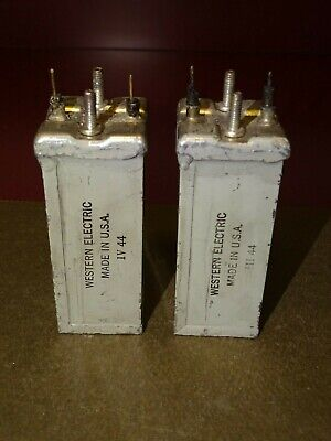 Pair, Western Electric Type D160845 Oil Capacitors, 1 MFD, Good
