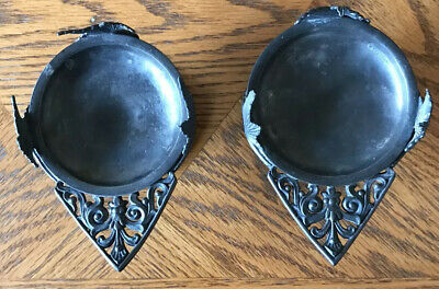 Rare Set Of 2 Rogers Smith Meriden CT Quadruple Silver Plated Candle Holders #38