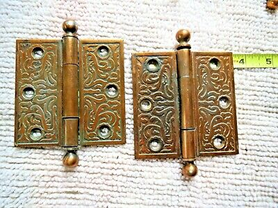 Antique Victorian Eastlake Door Hinge Cannon Ball Top 3.5 X 3.5 pair Brass heavy