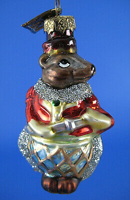 Mouse Glass Christmas Tree Ornament Thomas Pacconi Red Coat Gold Axe 2004