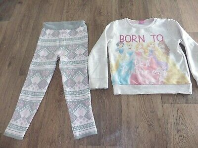 2pc Disney princess super warm top and winter knit leggings age 4-5 years