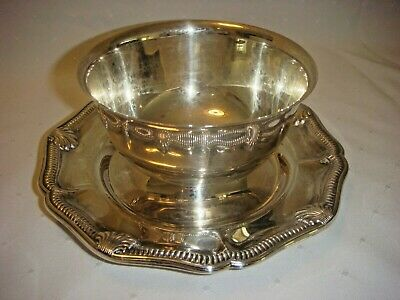 Vintage Silverplate Shrimp Serving Bowl Withh Attached Underplate Viking Plate