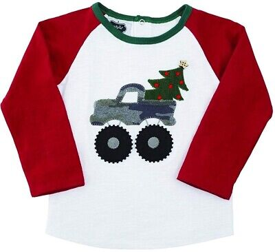 Mud Pie Boy Holiday Cotton Camo Truck Christmas Tree T-Shirt 24M/3T - 4T/5T New