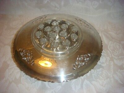 Vintage Silver Plate Bowl With Glass Frog For Flower Arranging