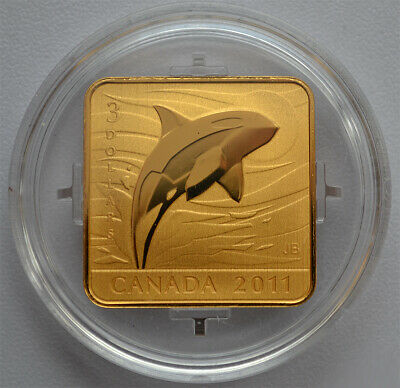 12792 2011 /'Orca Whale/' Wildlife Conservation $3 Square-Shaped Gold-Plated