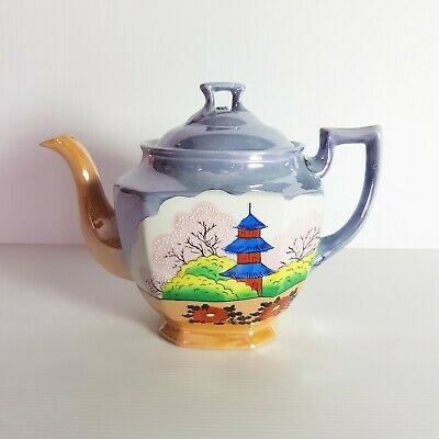 Vintage Hand Painted Japanese Garden Blue & Peach Lusterware Teapot