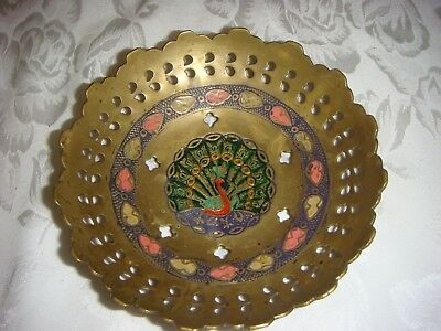 Vintage Egyptian Reticulated Enamel & Brass Inlay Dish
