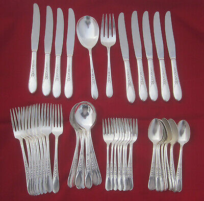 1938 Vintage FLORAL Wm. Rogers Mfg. Oneida 49 Piece Flatware Set