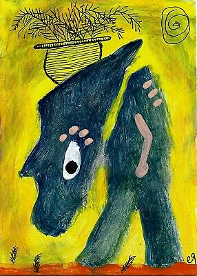 in lieu of hair e9Art ACEO Outsider Folk Art Brut Painting Expressionism Humor