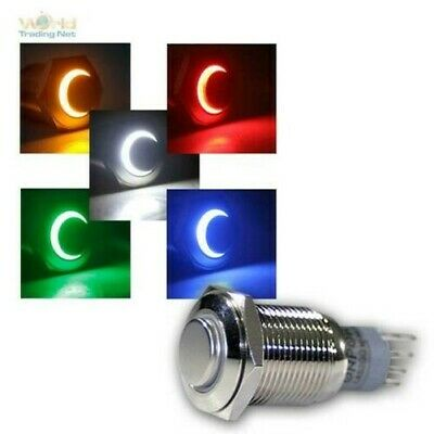 Switch Full Metal 230V/3A, LED Lighting, Bell Button Metal Ringbeleuchtung