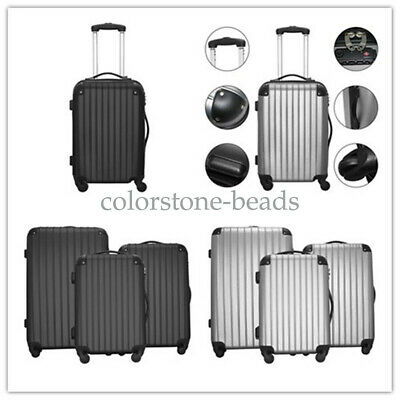 """3 Pieces Luggage Set Travel Bag ABS Trolley Spinner Suitcase w/Lock 20"""" 24"""" 28"""""""
