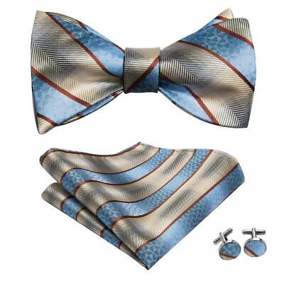 Classic Blue Brown Striped Self Bow Tie Classic Mens Silk Necktie Bowtie Set