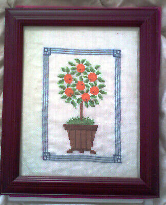 Orange Tree Cross Stitch with Frame - completed