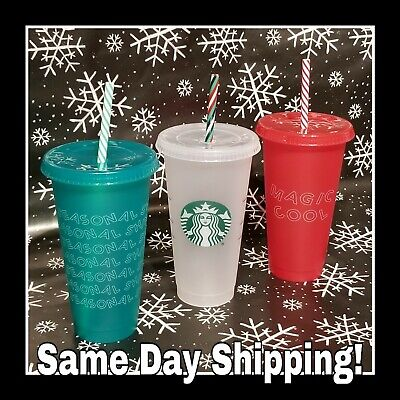 3 Starbucks 2019 Holiday Christmas Reusable Cold Cup Candy Cane Straw Venti 24oz
